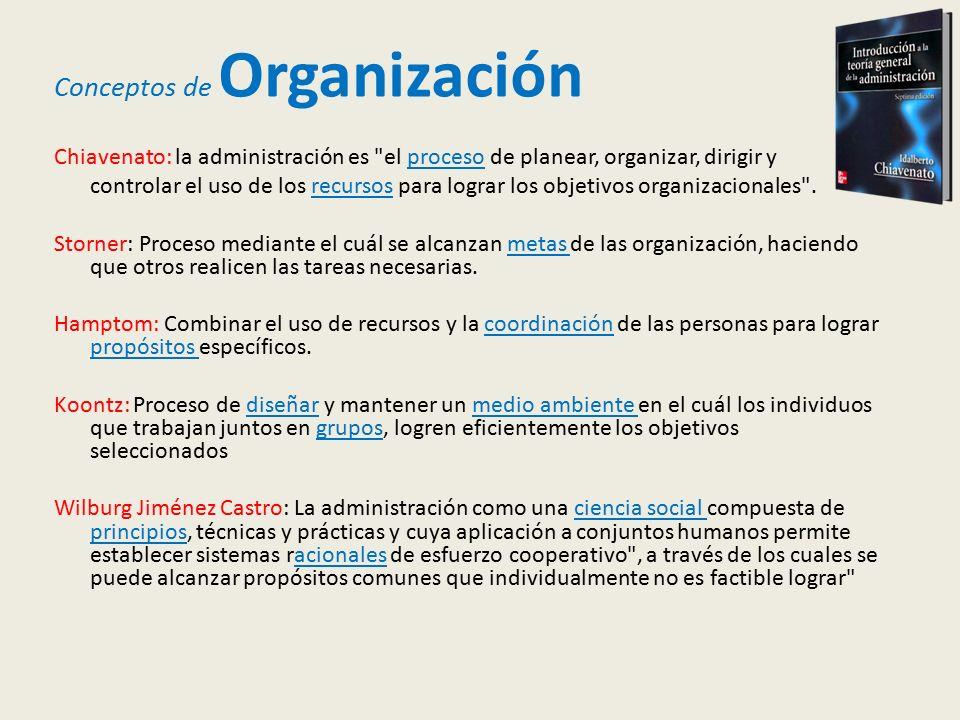 Conceptos de Organización Chiavenato: la administración es el proceso de planear, organizar, dirigir y controlar el uso de los recursos para lograr los objetivos organizacionales .