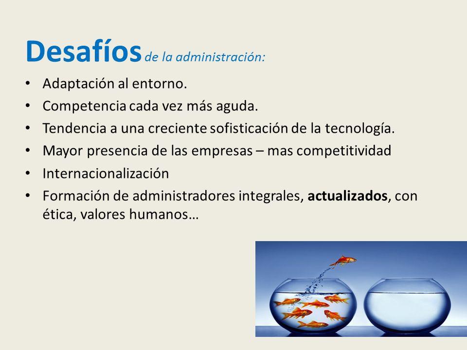 Desafíos de la administración: Adaptación al entorno.