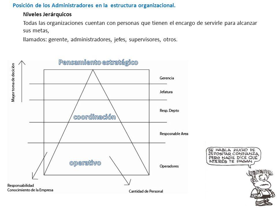 Posición de los Administradores en la estructura organizacional.