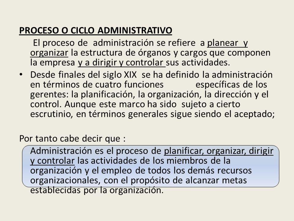 PROCESO O CICLO ADMINISTRATIVO El proceso de administración se refiere a planear y organizar la estructura de órganos y cargos que componen la empresa y a dirigir y controlar sus actividades.