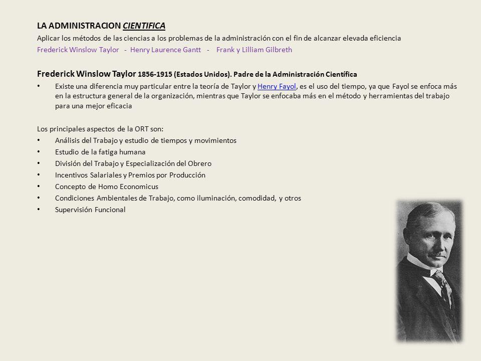 LA ADMINISTRACION CIENTIFICA Aplicar los métodos de las ciencias a los problemas de la administración con el fin de alcanzar elevada eficiencia Frederick Winslow Taylor - Henry Laurence Gantt - Frank y Lilliam Gilbreth Frederick Winslow Taylor 1856-1915 (Estados Unidos).