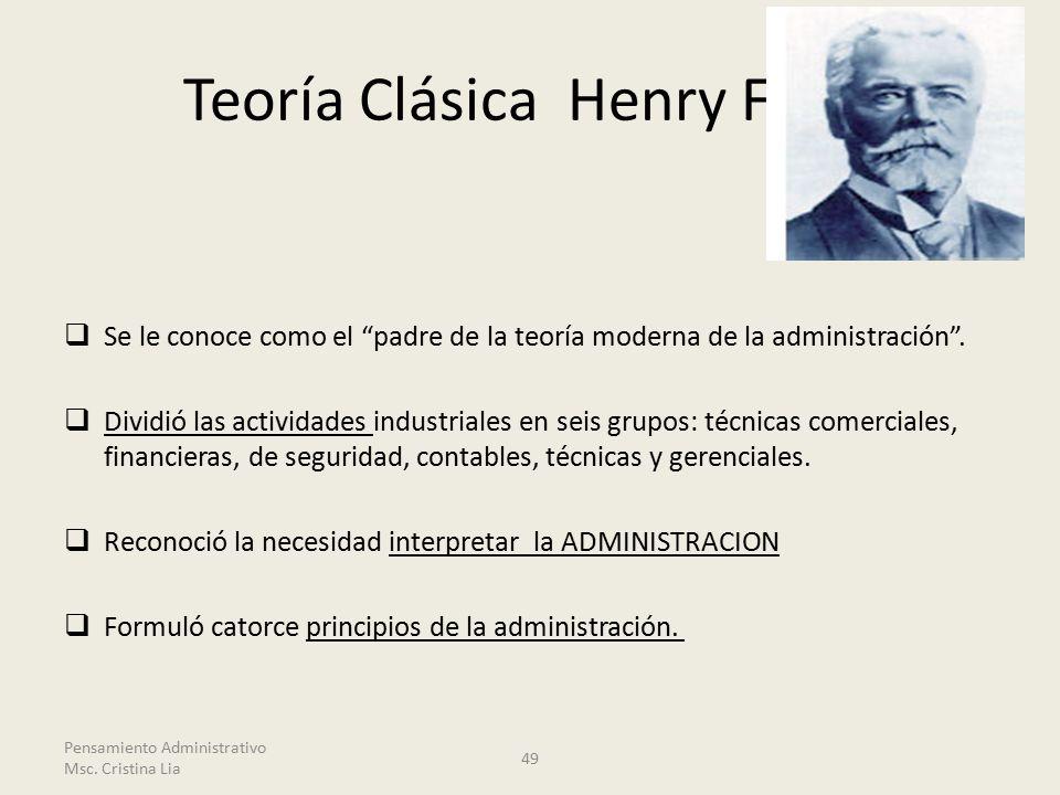 Teoría Clásica Henry Fayol  Se le conoce como el padre de la teoría moderna de la administración .