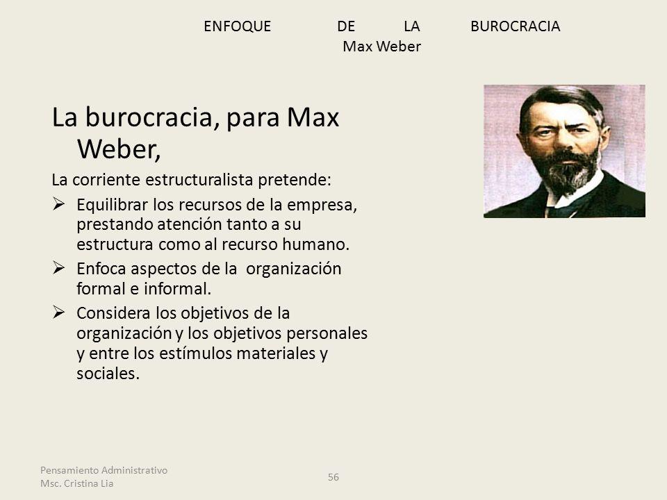 La burocracia, para Max Weber, La corriente estructuralista pretende:  Equilibrar los recursos de la empresa, prestando atención tanto a su estructura como al recurso humano.