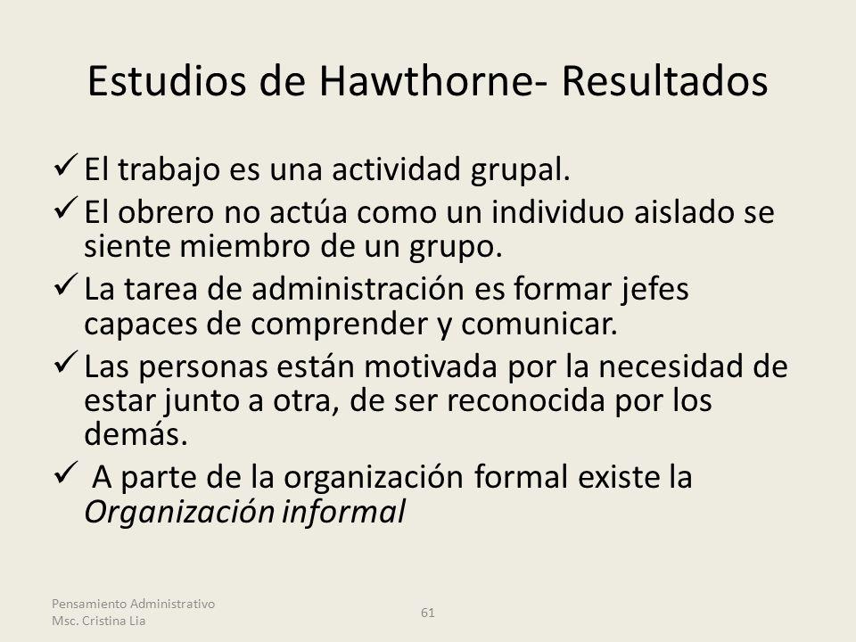 Estudios de Hawthorne- Resultados El trabajo es una actividad grupal.