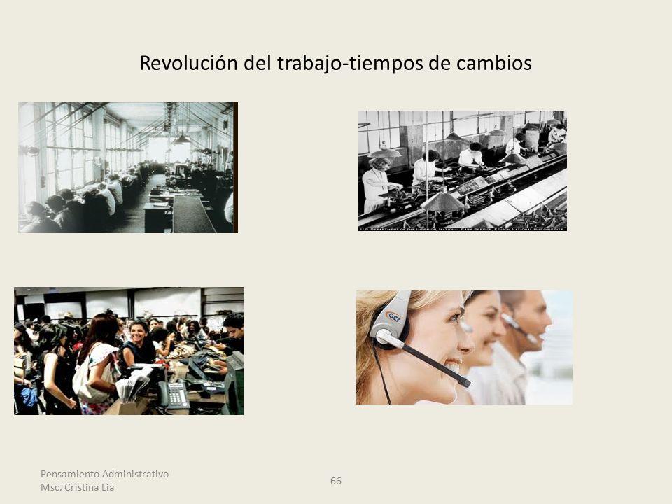 Revolución del trabajo-tiempos de cambios Pensamiento Administrativo Msc. Cristina Lia 66