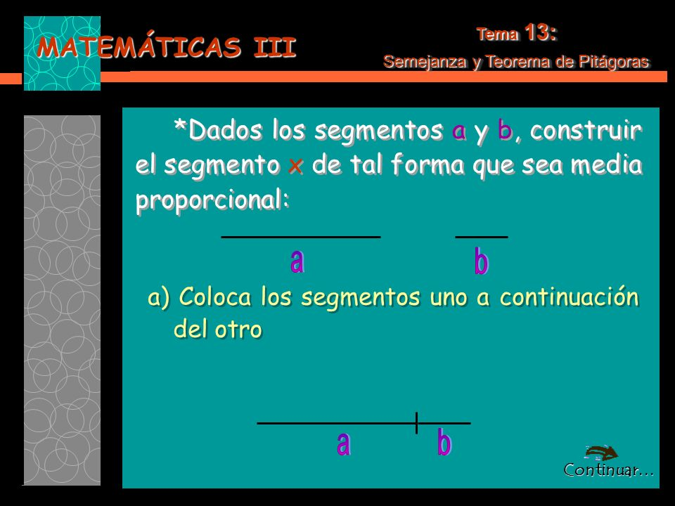 MATEMÁTICAS III Tema 13: Semejanza y Teorema de Pitágoras Tema 13: Semejanza y Teorema de Pitágoras *Dados los segmentos a y b, construir el segmento x de tal forma que sea media proporcional: *Dados los segmentos a y b, construir el segmento x de tal forma que sea media proporcional: a) Coloca los segmentos uno a continuación del otro a) Coloca los segmentos uno a continuación del otro Continuar…
