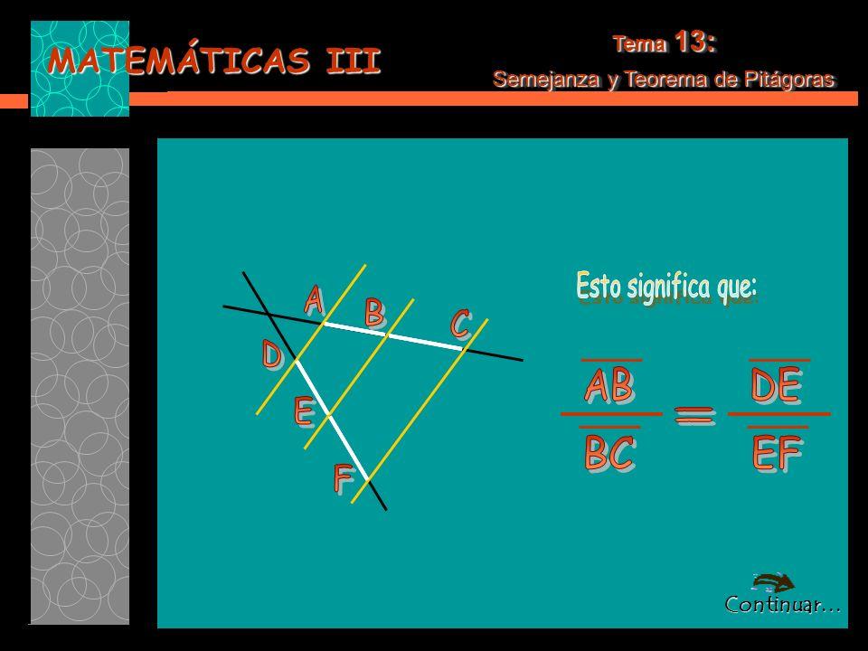 MATEMÁTICAS III Tema 13: Semejanza y Teorema de Pitágoras Tema 13: Semejanza y Teorema de Pitágoras *Podemos utilizar el Teorema de Tales para comprobar que efectivamente el segmento X es la media proporcional: *Podemos utilizar el Teorema de Tales para comprobar que efectivamente el segmento X es la media proporcional: Completemos la figura anterior, formando triángulos semejantes: Completemos la figura anterior, formando triángulos semejantes: Continuar…