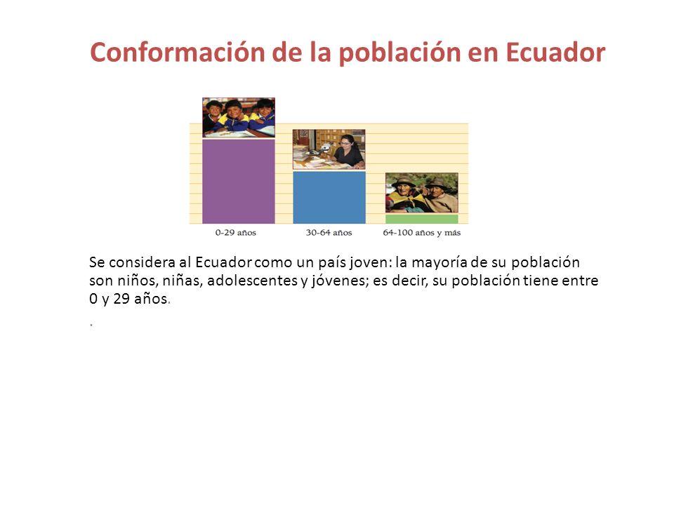Conformación de la población en Ecuador Se considera al Ecuador como un país joven: la mayoría de su población son niños, niñas, adolescentes y jóvene