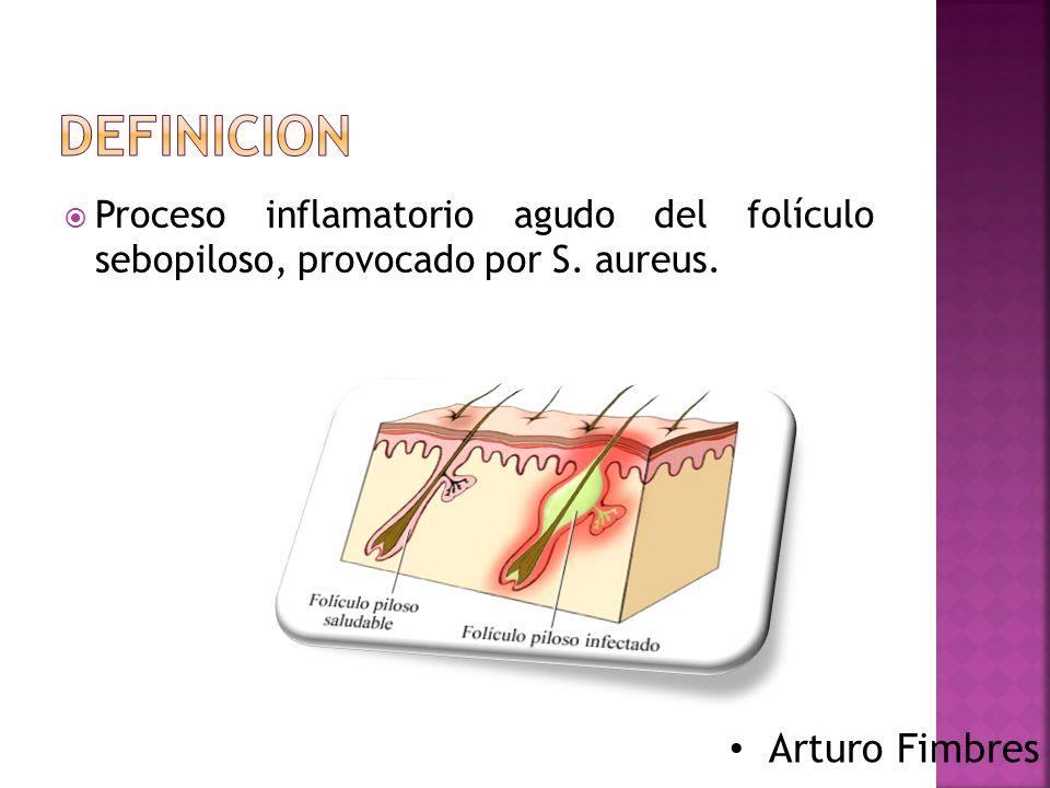  Patogenia: S.aureus procedente de la cavidad nasal, rinitis y afeitado contrapelo .