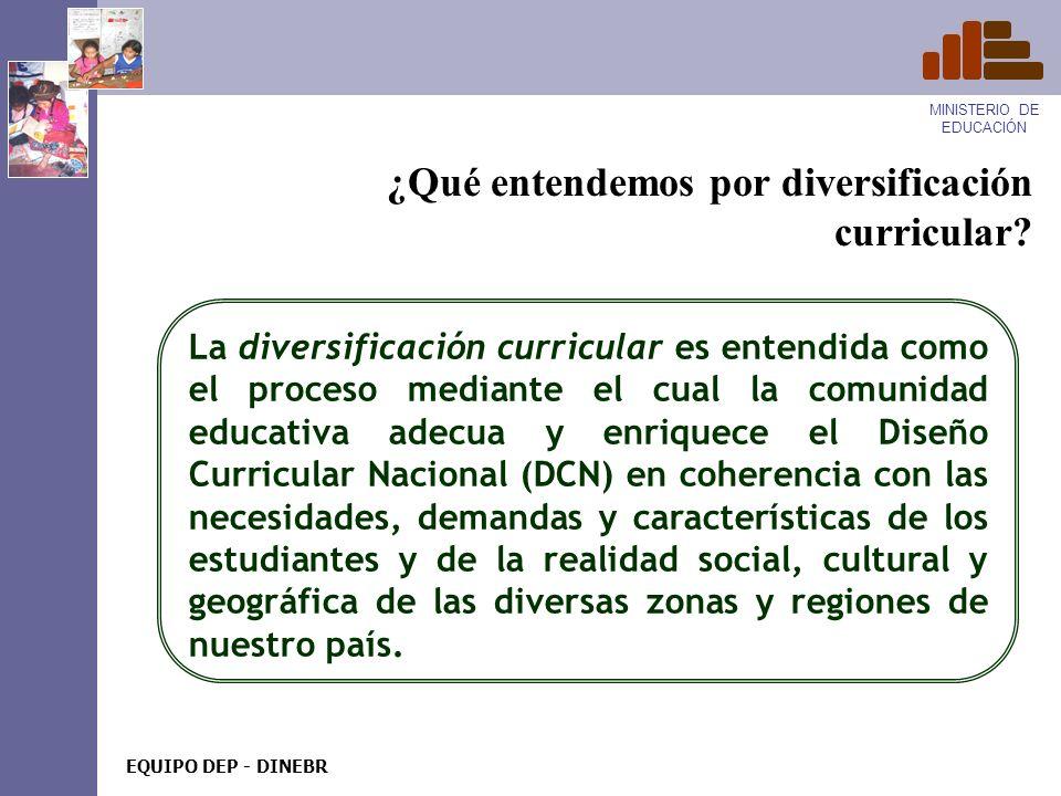MINISTERIO DE EDUCACIÓN EQUIPO DEP - DINEBR MINISTERIO DE EDUCACIÓN EQUIPO DEP - DINEBR Diversificación y programación curricular