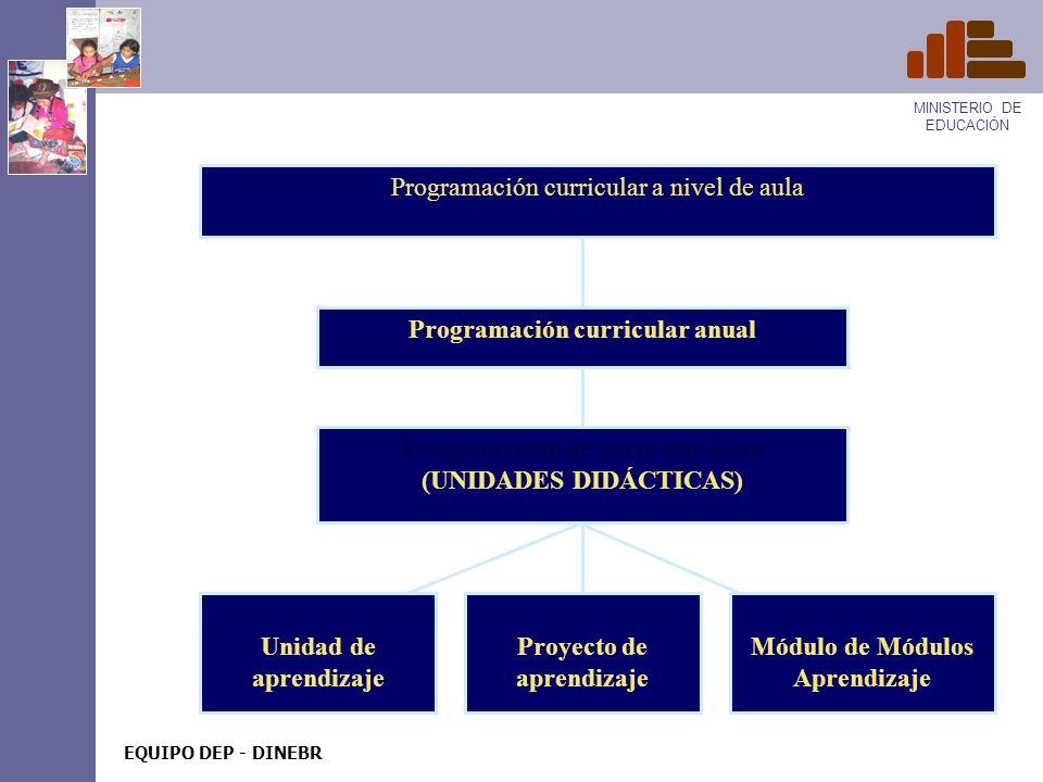 MINISTERIO DE EDUCACIÓN EQUIPO DEP - DINEBR PROGRAMACIÓN CURRICULAR A NIVEL DE AULA La Programación Curricular es un proceso que garantiza el trabajo sistemático de los procesos pedagógicos y evita la improvisación y rutina.
