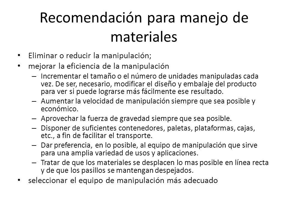Recomendación para manejo de materiales Eliminar o reducir la manipulación; mejorar la eficiencia de la manipulación – Incrementar el tamaño o el número de unidades manipuladas cada vez.