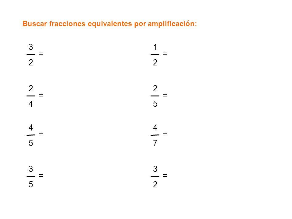 Buscar fracciones equivalentes por amplificación: 3232 = 2424 = 4545 = 3535 = 1212 = 2525 = 4747 = 3232 =