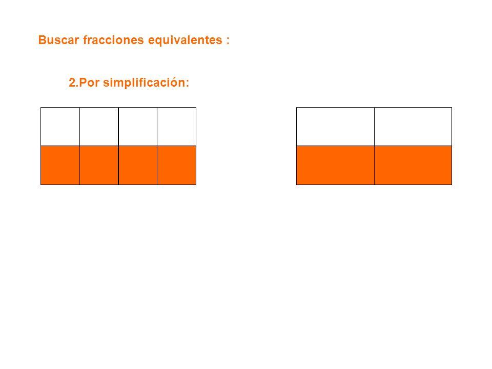 Buscar fracciones equivalentes : 2.Por simplificación: