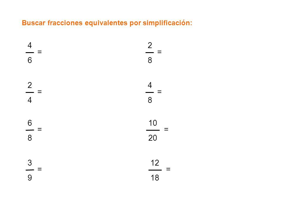 Buscar fracciones equivalentes por simplificación: 4646 = 2424 = 6868 = 3939 = 2828 = 4848 = 10 20 12 18 = =