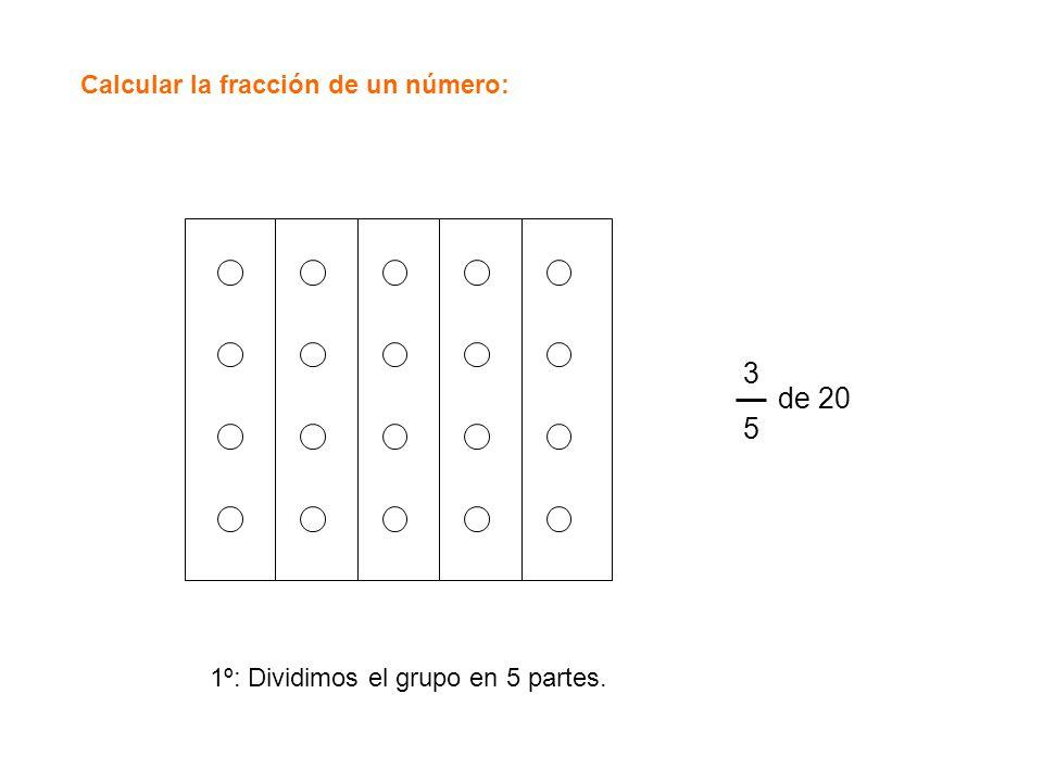 Calcular la fracción de un número: 3535 de 20 1º: Dividimos el grupo en 5 partes.