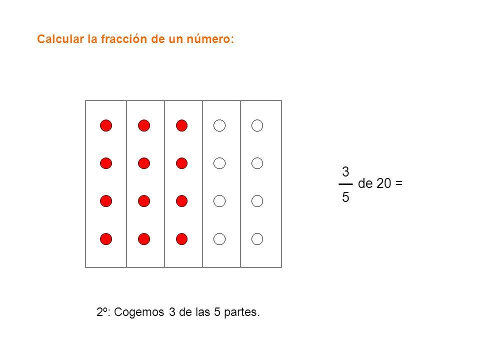 Calcular la fracción de un número: 3535 de 20 = 2º: Cogemos 3 de las 5 partes.