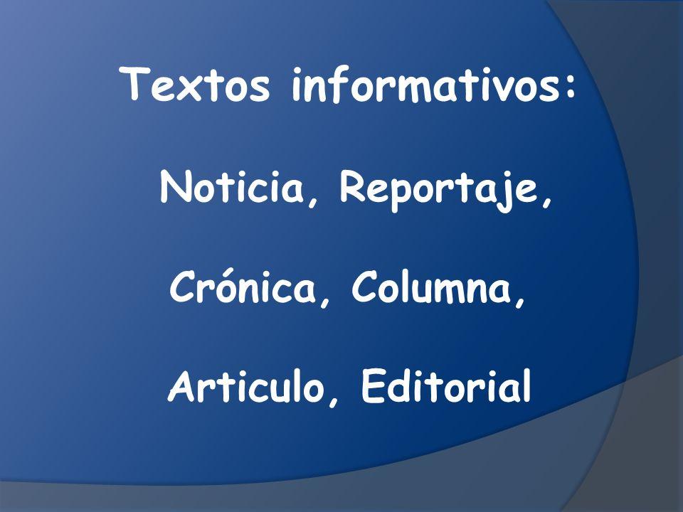 Textos informativos: Noticia, Reportaje, Crónica, Columna, Articulo, Editorial