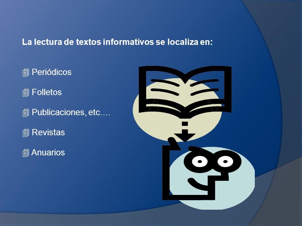 La lectura de textos informativos se localiza en:  Periódicos  Folletos  Publicaciones, etc.…  Revistas  Anuarios