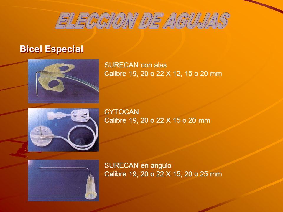 Bicel Especial SURECAN con alas Calibre 19, 20 o 22 X 12, 15 o 20 mm CYTOCAN Calibre 19, 20 o 22 X 15 o 20 mm SURECAN en angulo Calibre 19, 20 o 22 X