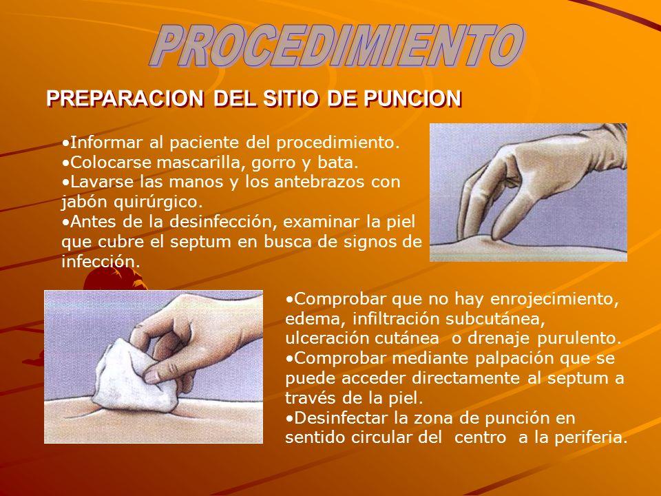 PREPARACION DEL SITIO DE PUNCION Informar al paciente del procedimiento. Colocarse mascarilla, gorro y bata. Lavarse las manos y los antebrazos con ja