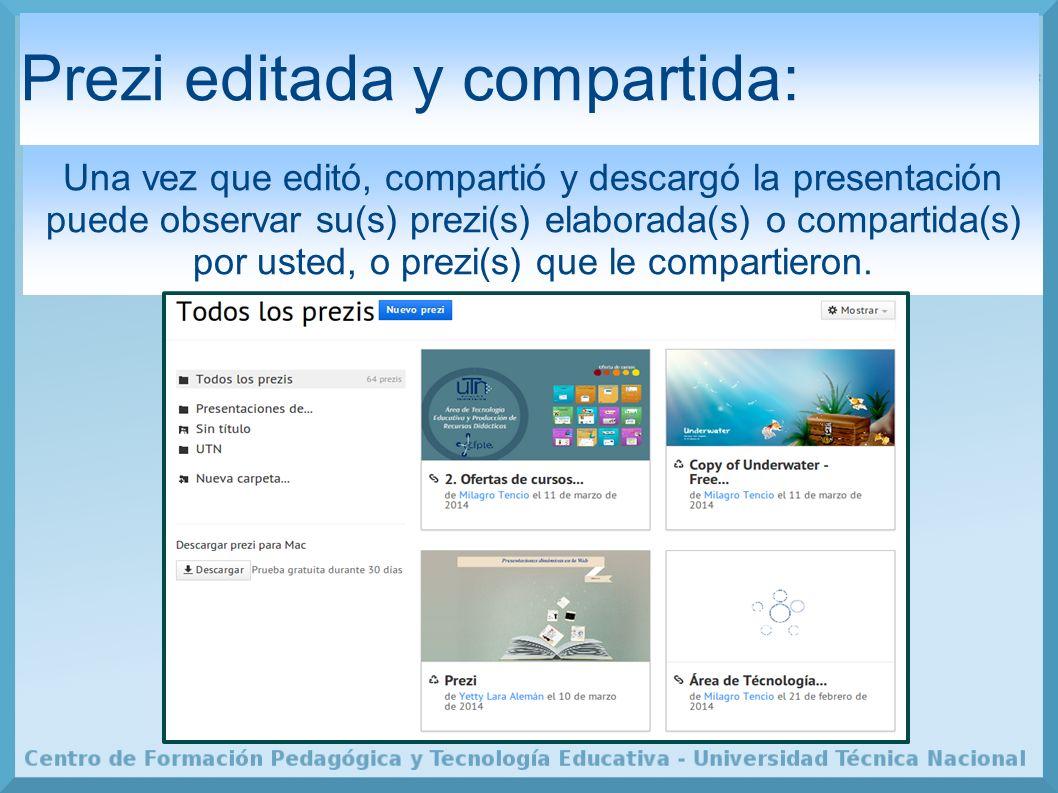 Prezi editada y compartida: Una vez que editó, compartió y descargó la presentación puede observar su(s) prezi(s) elaborada(s) o compartida(s) por usted, o prezi(s) que le compartieron.