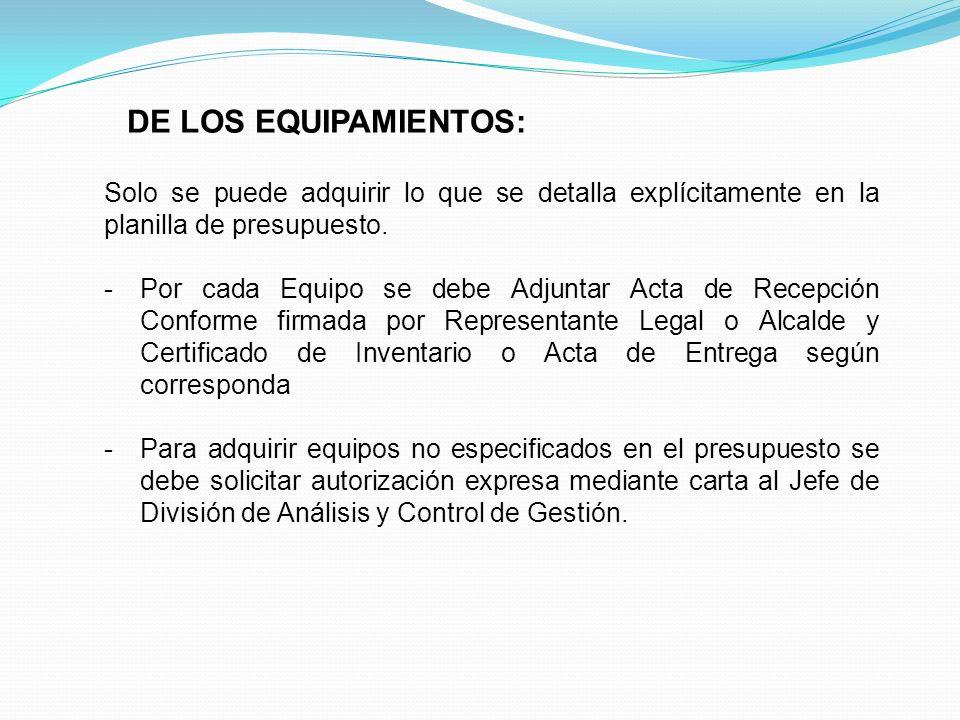 DE LOS EQUIPAMIENTOS: Solo se puede adquirir lo que se detalla explícitamente en la planilla de presupuesto. -Por cada Equipo se debe Adjuntar Acta de
