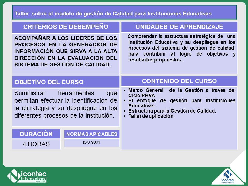 2 11V01-V1 CRITERIOS DE DESEMPEÑO ACOMPAÑAR A LOS LIDERES DE LOS PROCESOS EN LA GENERACIÓN DE INFORMACIÓN QUE SIRVA A LA ALTA DIRECCIÓN EN LA EVALUACION DEL SISTEMA DE GESTIÓN DE CALIDAD.