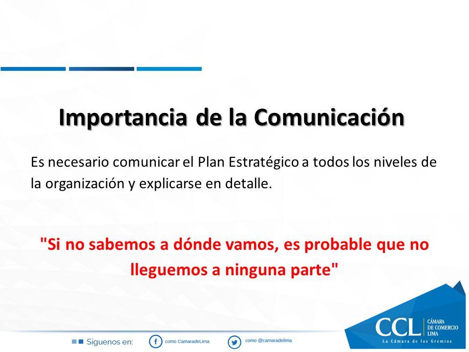 Importancia de la Comunicación Es necesario comunicar el Plan Estratégico a todos los niveles de la organización y explicarse en detalle.