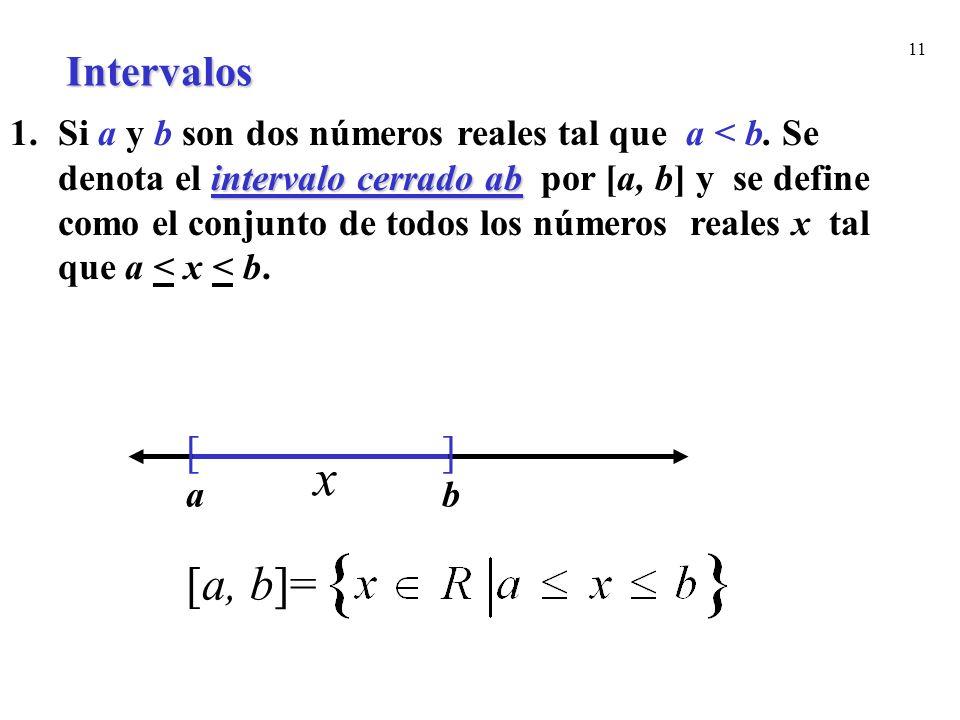11 intervalo cerrado ab 1.Si a y b son dos números reales tal que a < b. Se denota el intervalo cerrado ab por [a, b] y se define como el conjunto de
