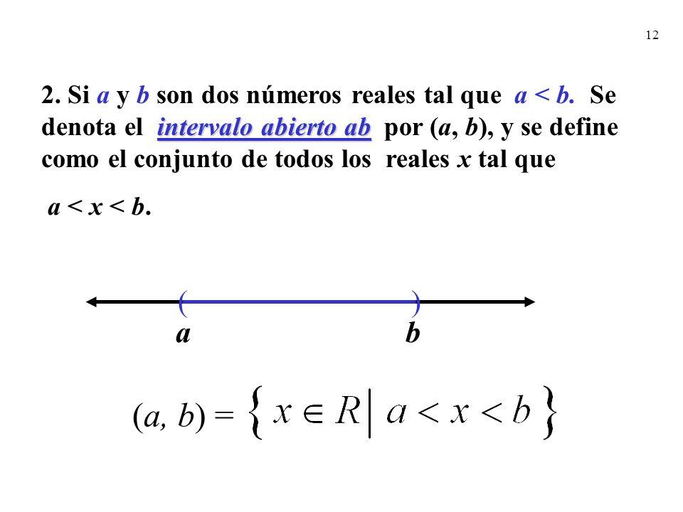 12 intervalo abierto ab 2. Si a y b son dos números reales tal que a < b. Se denota el intervalo abierto ab por (a, b), y se define como el conjunto d