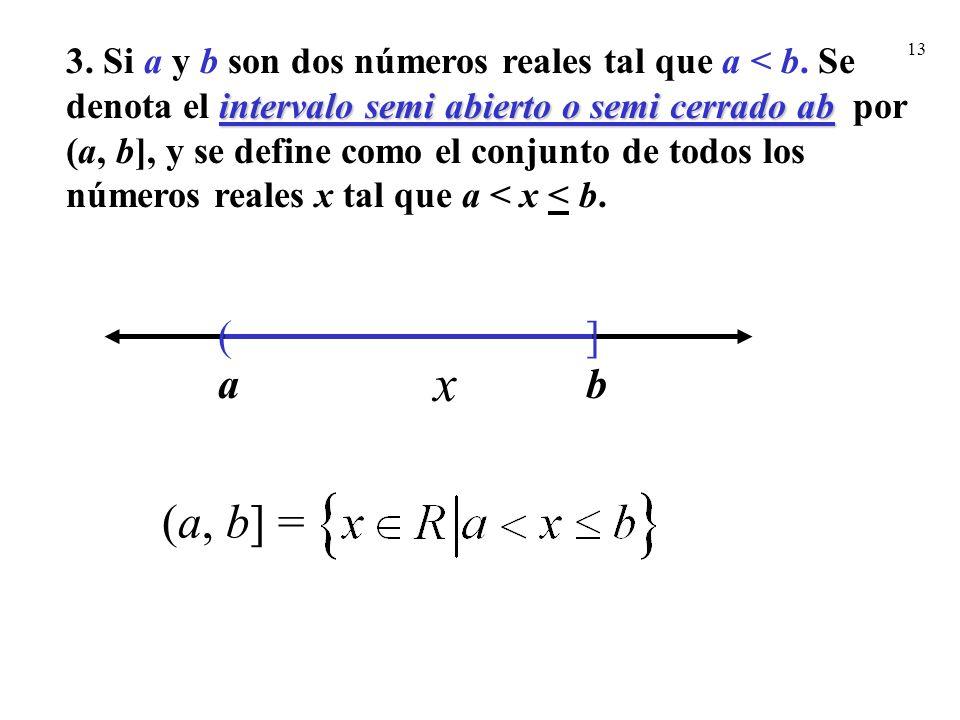 13 intervalo semi abierto o semi cerrado ab 3. Si a y b son dos números reales tal que a < b. Se denota el intervalo semi abierto o semi cerrado ab po