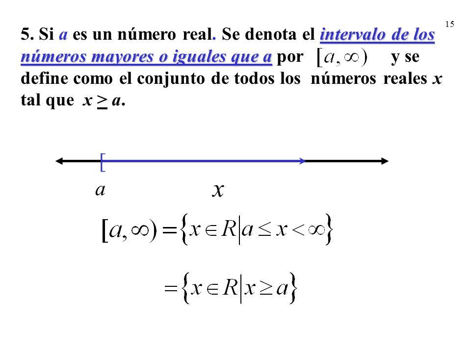 15 [ a x intervalo de los números mayores o iguales que a 5. Si a es un número real. Se denota el intervalo de los números mayores o iguales que a por
