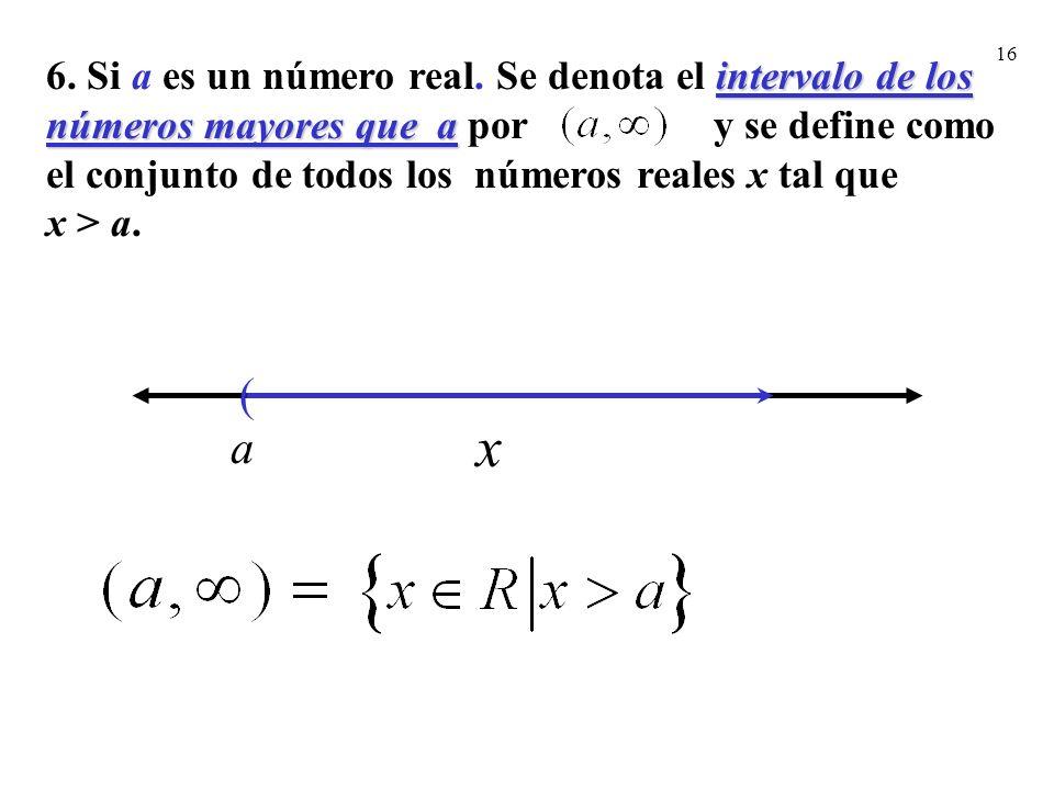 16 ( a x intervalo de los números mayores que a 6. Si a es un número real. Se denota el intervalo de los números mayores que a por y se define como el