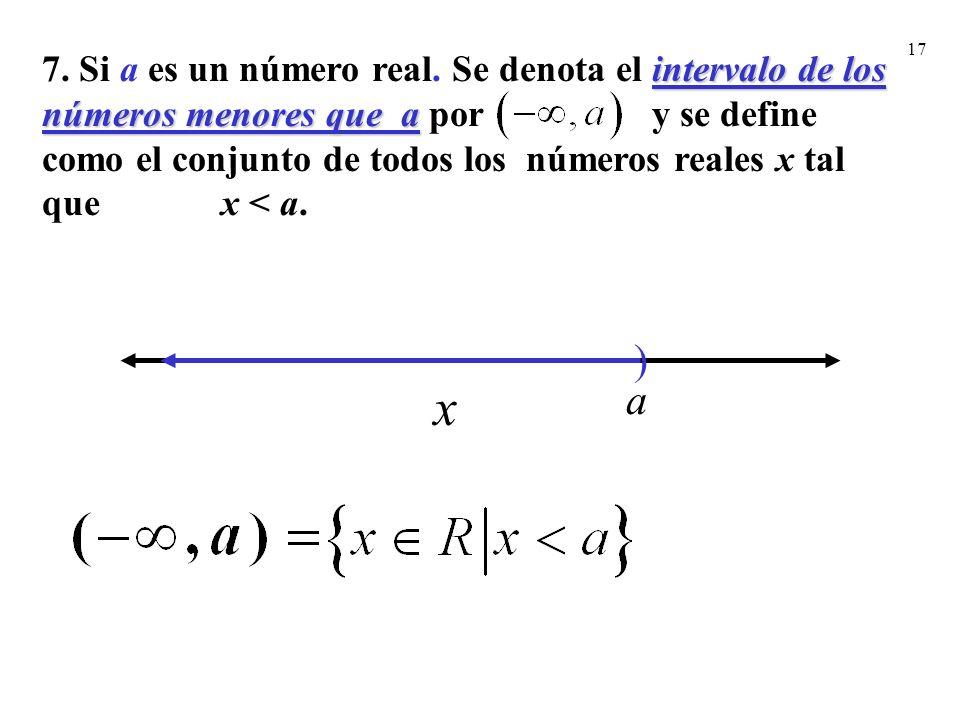 17 ) a x intervalo de los números menores que a 7. Si a es un número real. Se denota el intervalo de los números menores que a por y se define como el