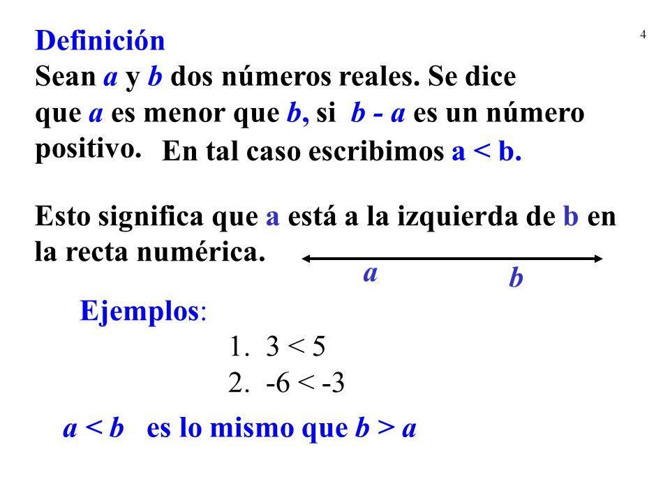 4 Definición Sean a y b dos números reales. Se dice que a es menor que b, si b - a es un número positivo. En tal caso escribimos a < b. Ejemplos: 1. 3