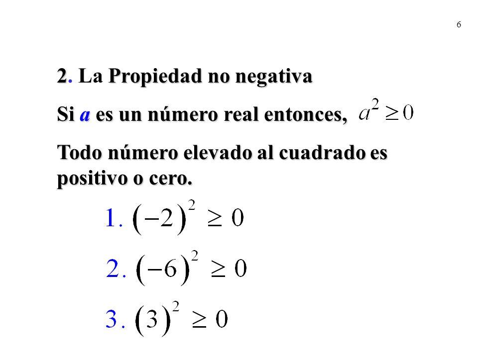 6 2Propiedad no negativa 2. La Propiedad no negativa Si a es un número real entonces, Todo número elevado al cuadrado es positivo o cero.