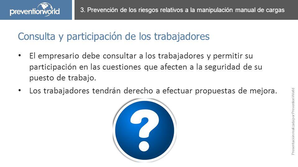 Presentación realizada por Prevention World El empresario debe consultar a los trabajadores y permitir su participación en las cuestiones que afecten