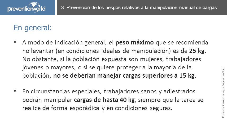 Presentación realizada por Prevention World A modo de indicación general, el peso máximo que se recomienda no levantar (en condiciones ideales de mani