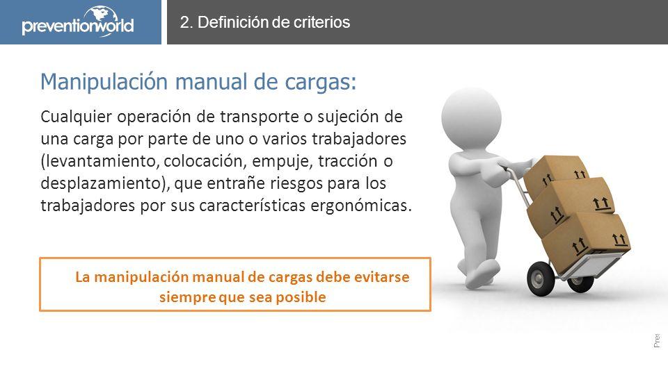 Presentación realizada por Prevention World Cualquier operación de transporte o sujeción de una carga por parte de uno o varios trabajadores (levantam