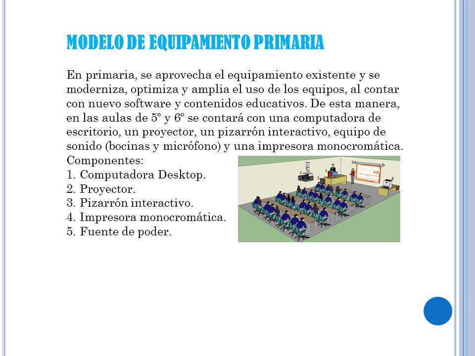 MODELO DE EQUIPAMIENTO PRIMARIA En primaria, se aprovecha el equipamiento existente y se moderniza, optimiza y amplia el uso de los equipos, al contar con nuevo software y contenidos educativos.