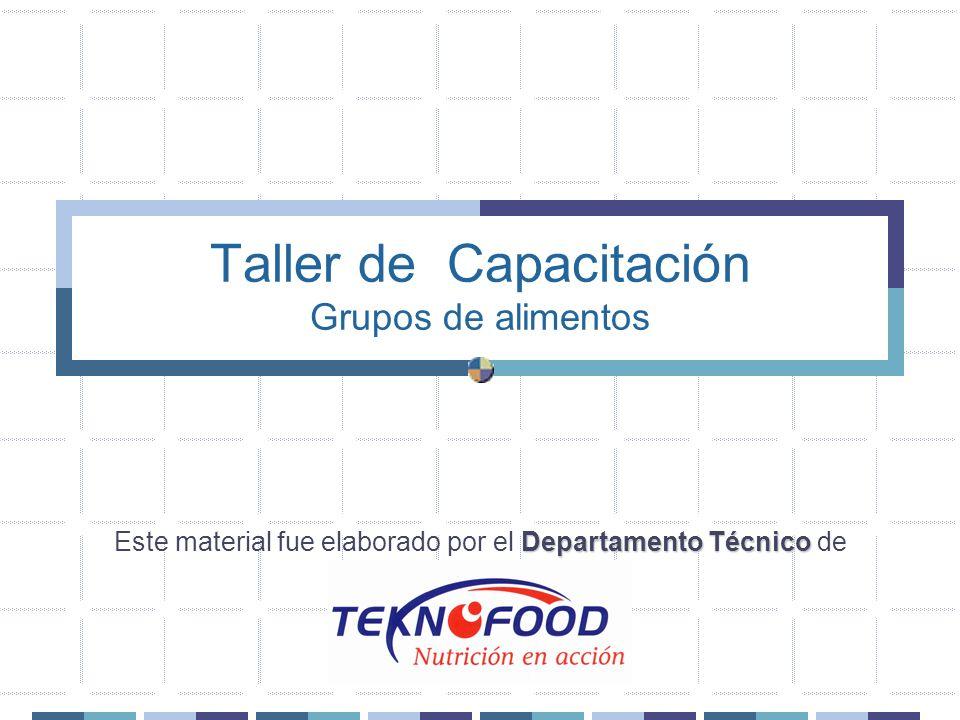 Grupos de Alimentos Relación entre la Gráfica de los Grupos de alimentos y los ingredientes utilizados en las recetas