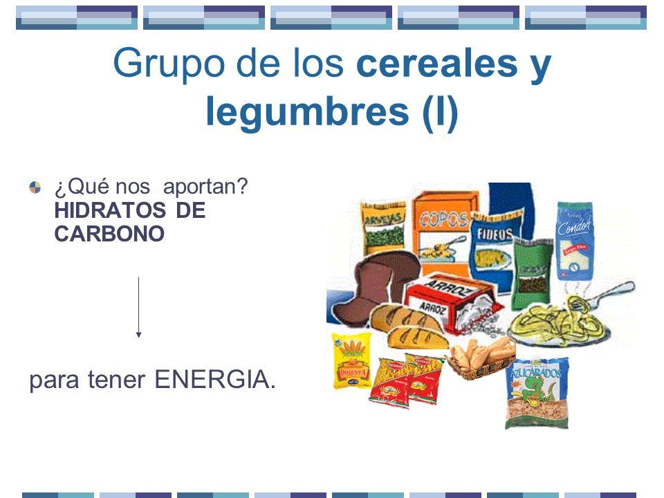 Grupo de los cereales y legumbres (II) Entre los cereales puede elegir: arroz, maíz, trigo, avena, cebada, centeno.
