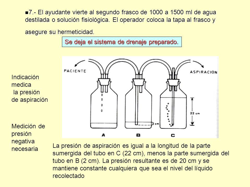 7.- El ayudante vierte al segundo frasco de 1000 a 1500 ml de agua destilada o solución fisiológica. El operador coloca la tapa al frasco y asegure su