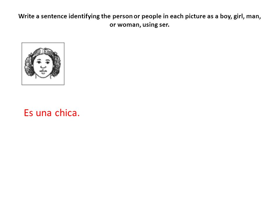 Write a sentence identifying the person or people in each picture as a boy, girl, man, or woman, using ser.