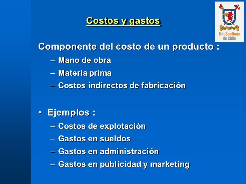 Costos y gastos Componente del costo de un producto : –Mano de obra –Materia prima –Costos indirectos de fabricación Ejemplos :Ejemplos : –Costos de e