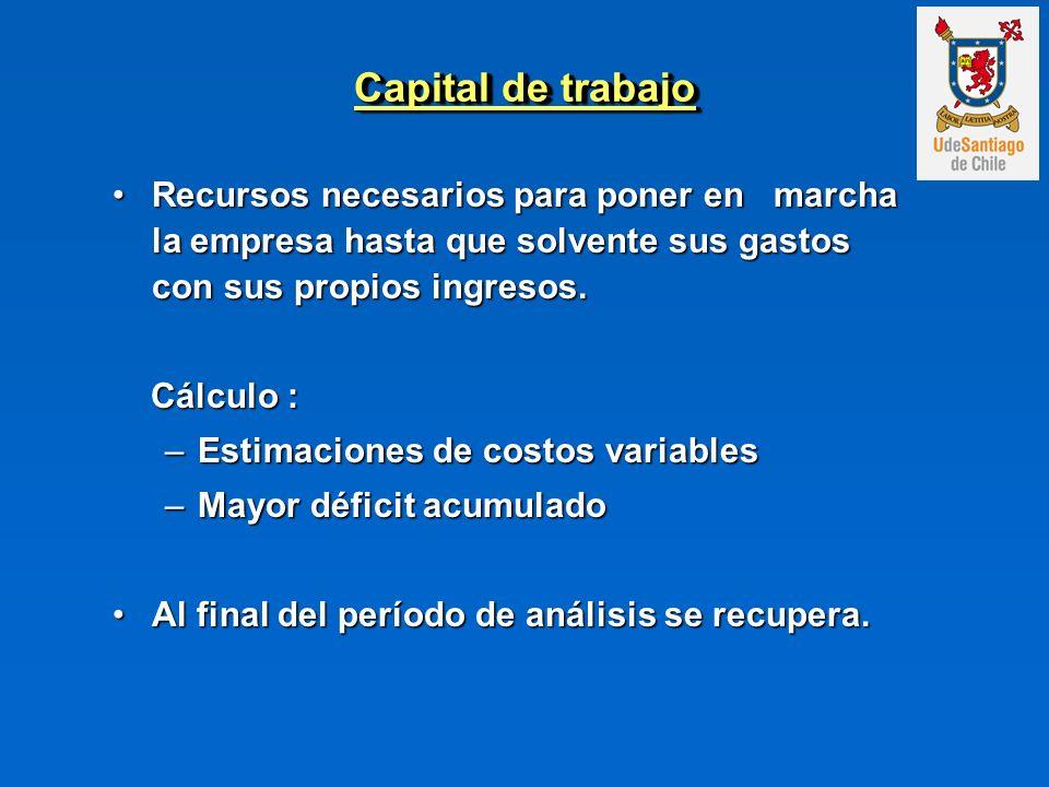 Capital de trabajo Recursos necesarios para poner en marcha la empresa hasta que solvente sus gastos con sus propios ingresos.Recursos necesarios para