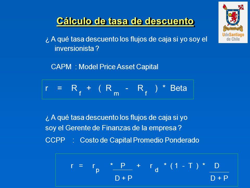 Cálculo de tasa de descuento ¿ A qué tasa descuento los flujos de caja si yo soy el inversionista ? CAPM : Model Price Asset Capital r = R + ( R - R )