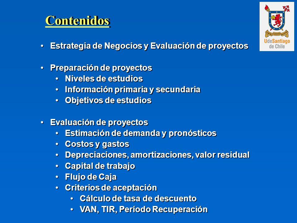 Contenidos Estrategia de Negocios y Evaluación de proyectos Estrategia de Negocios y Evaluación de proyectos Preparación de proyectos Preparación de p