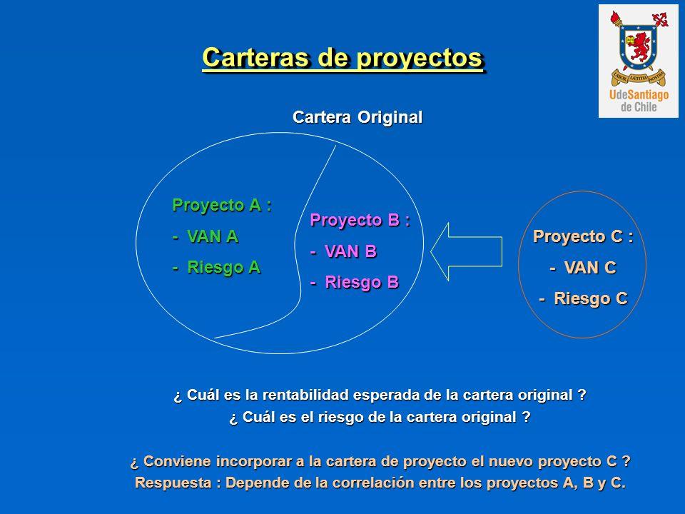 Carteras de proyectos Proyecto A : - VAN A - Riesgo A Proyecto B : - VAN B - Riesgo B ¿ Cuál es la rentabilidad esperada de la cartera original .